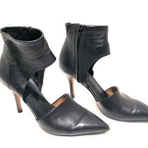 Vince Cristina Leather Ankle-Wrap Pump, Black